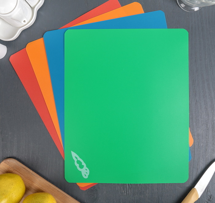 Доски гибкие разделочные для разныx видов продуктов Прямоугольные 3427см, 4 шт фото