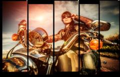"""Модульная картина """"Девушка на мотоцикле"""""""