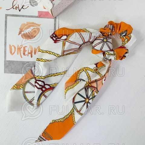 Резинка для волос с платком Рисунок Цепи (цвет: белый, оранжевый)