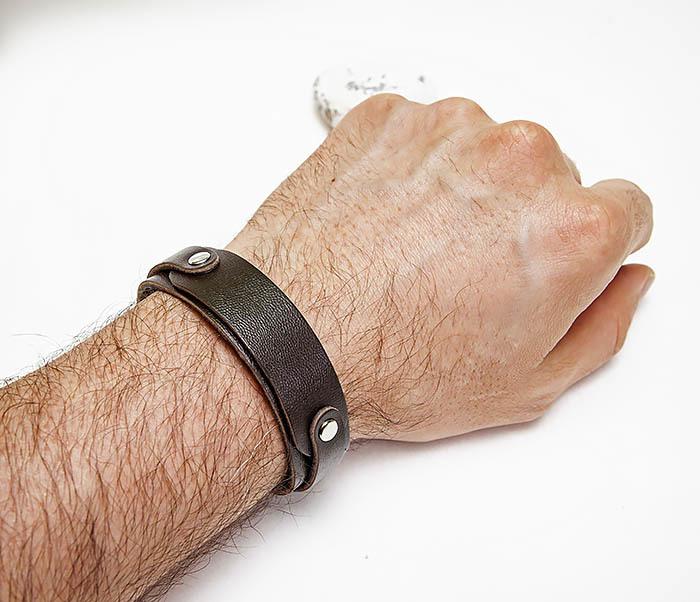 BL804-2 Коричневый кожаный браслет на застежках фото 06