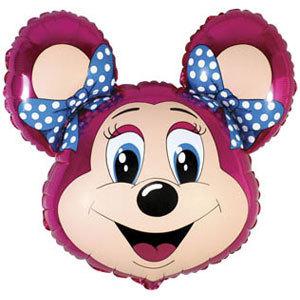 Фольгированный шар Мышка с бантом малиновая 67 X 51см