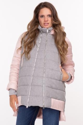 Куртка 2 в 1 для беременных 11186 серо-розовый