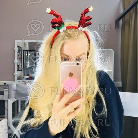 Новогодний ободок на голову Рога Оленя пайетки меняют цвет Красный-Зелёный