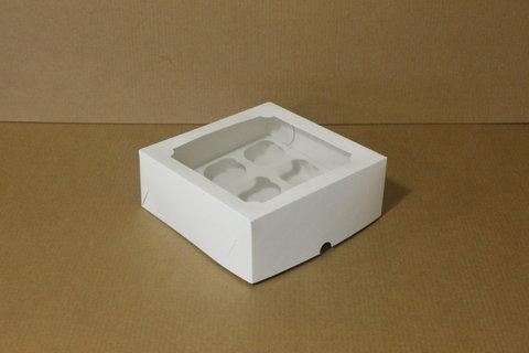 Коробка для 4 маффинов/капкейков 16*16*10см с окном, белая