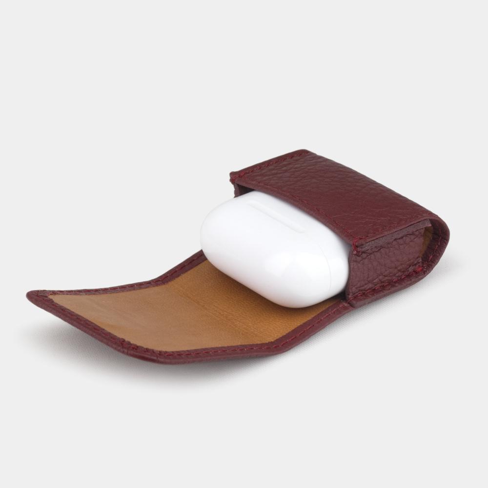 Чехол-держатель для наушников Petit Easy из натуральной кожи теленка, бордового цвета
