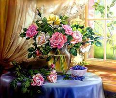 Картина раскраска по номерам 40x50 розы в пастельных тонах