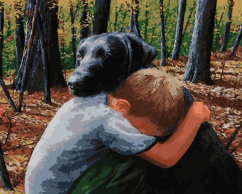 Картина раскраска по номерам 40x50 Объятия мальчика с собакой