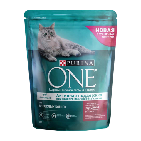 Purina One Adult Сухой корм для кошек Говядина и Злаки