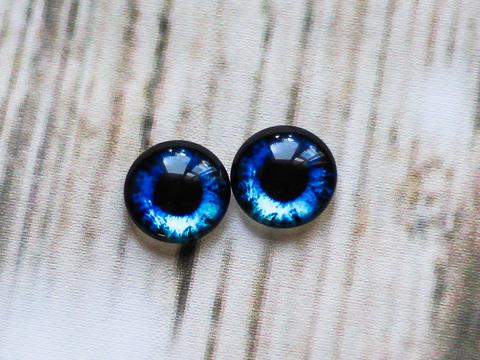 Очі для іграшок, скляні кабошони 14 мм, насичений синій