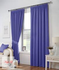 Длинные шторы. Тоскана (голубой) рогожка.