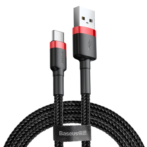 Кабель Baseus cafule Cable USB For Type-C 3A 0.5M Red+Black
