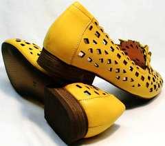 Модные летние босоножки туфли с широким каблуком женские Phany 103-28 Yellow.