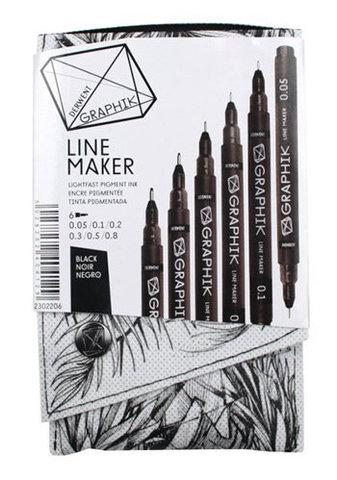Набор капиллярных ручек Derwent Graphik Line Maker, 6шт черные