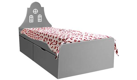 Детская кровать серая