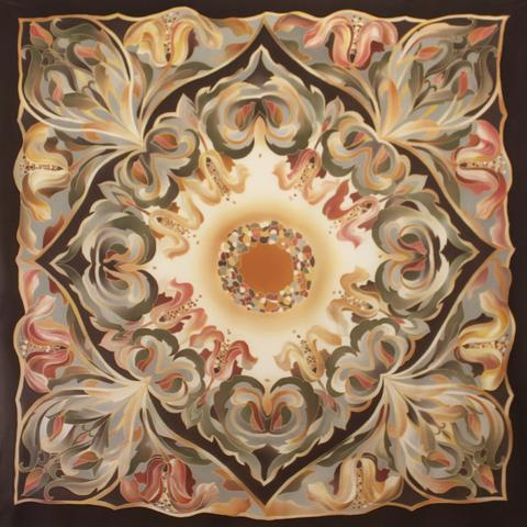 Платок батик Орнамент браун С-78