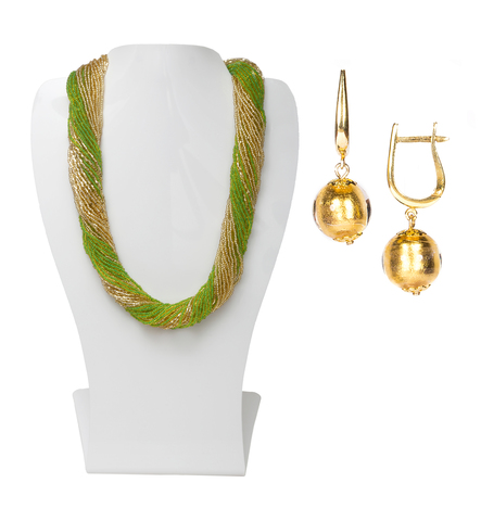 Комплект украшений зелено-золотистый (серьги-бусины, ожерелье из бисера 36 нитей)