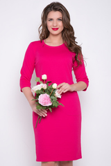 <p>Элегантное платье прямого силуэта с карманами. Рукав 3/4 (Длины: 44-50=98-101 см)&nbsp;</p>