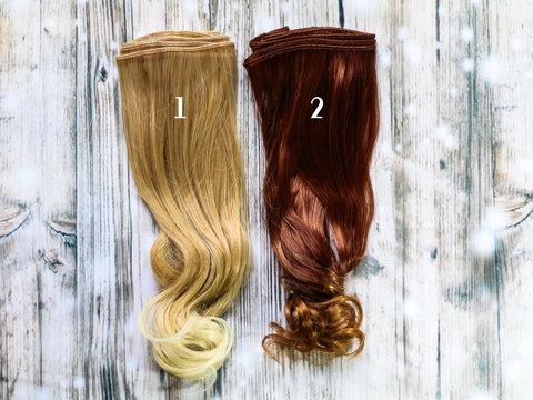 Волосся для ляльки, треси 25 см. Прямі з хвилястими кінчиками.