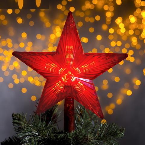 Красная Звезда на ёлку Светящаяся 22х22 см