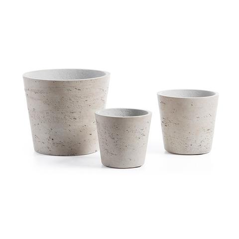 Набор 3х кашпо Lux цементно-серого цвета