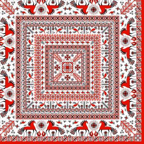 Квадратный орнамент с лошадьми. Мезенская роспись. (Дизайн для платков, шалей, наволочек, салфеток, полотенец). Irina Skaska