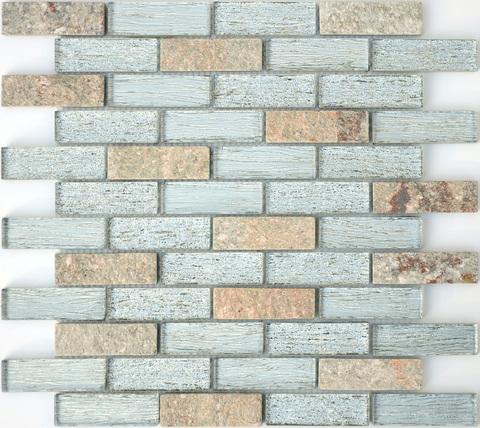 Мозаика стеклянная с камнем Dubai 23x73x8 260х298