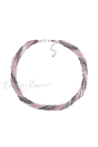 Бисерное ожерелье из 24 нитей серо-розовое