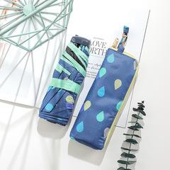 Японский миниатюрный плоский зонт с защитой от УФ, 6 спиц (синий, принт- капли)