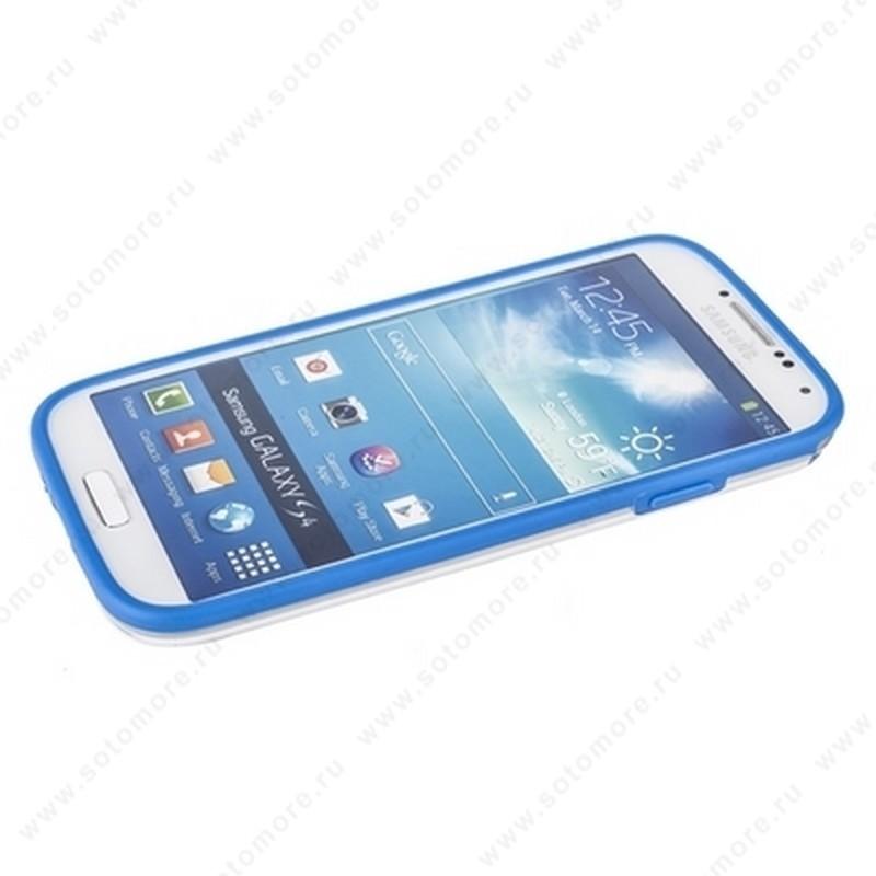 Бампер GRIFFIN для Samsung Galaxy S4 i9500/ i9505 голубой с прозрачной полосой
