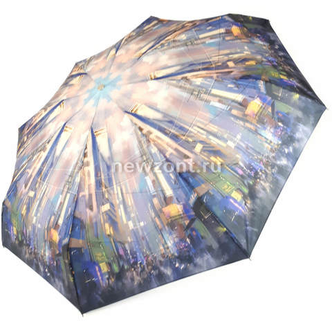Лёгкий женский зонт ТРАСТ «Ночной Нью-Йорк», 5 сложений