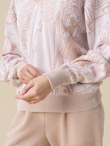 Женский джемпер молочного цвета с широкой линией плеча из вискозы - фото 4