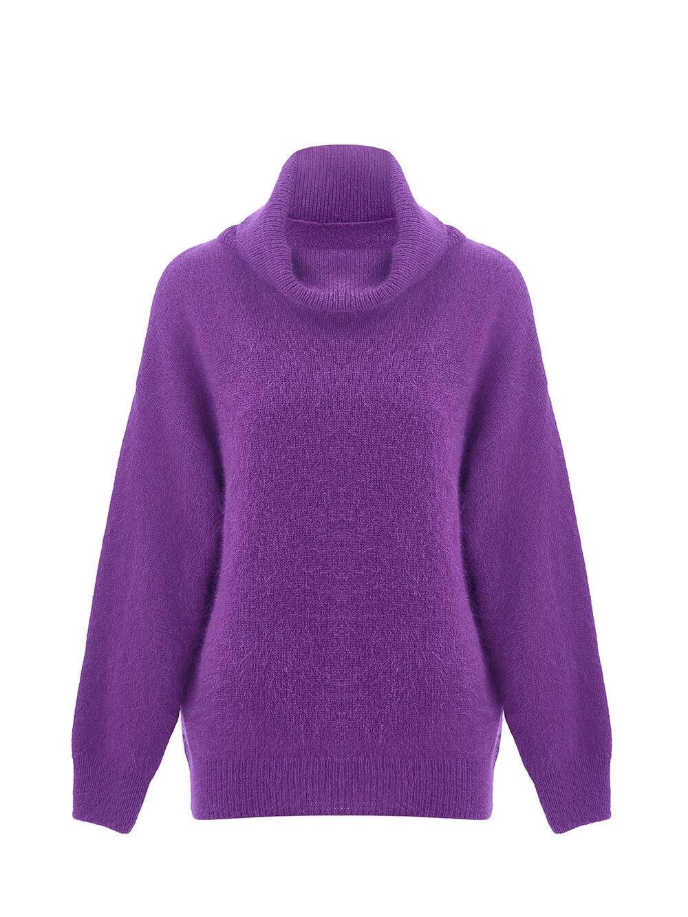 Женский свитер фиолетового цвета из ангоры - фото 1