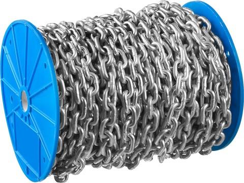 Цепь короткозвенная, DIN 766, оцинкованная сталь, d=8мм, L=15м, ЗУБР Профессионал