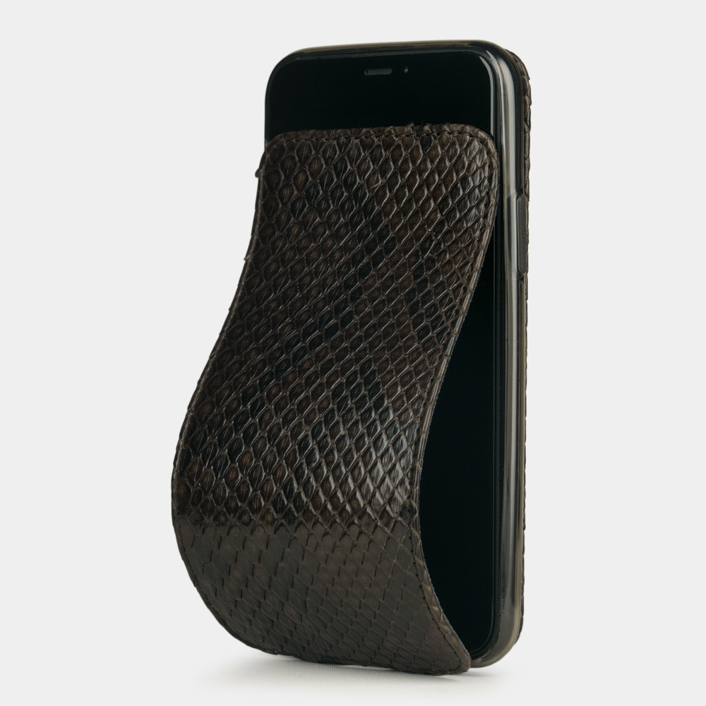 Чехол для iPhone 11 Pro из натуральной кожи питона, темно-коричневого цвета