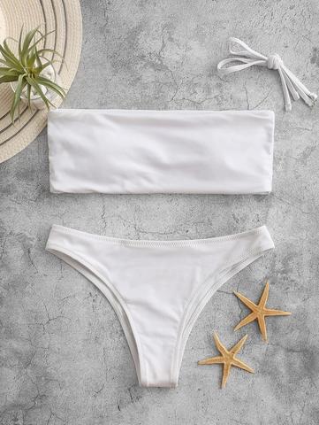 купальник раздельный белый бандо с отстегивающейся лямкой 1