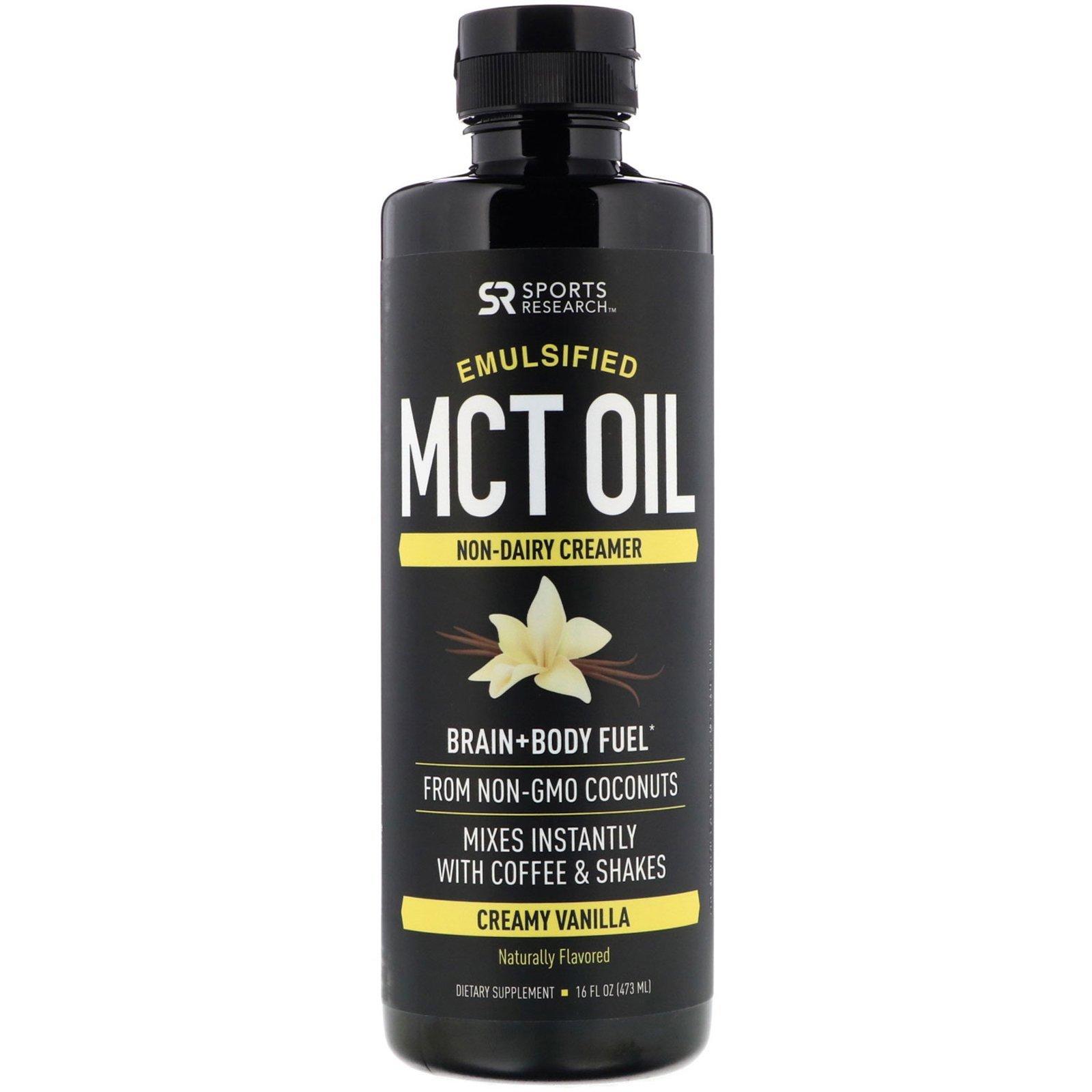 Sports Research, Эмульгированное масло MCT (вкус сливочная ваниль), 473 мл.