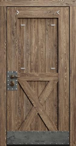 Входная дверь «Loft» в цвете, сосна патина (массив сосны)