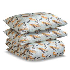 Постельное белье 1.5 спальное Tkano Wild сатин темно-серое с принтом Birds of Nile