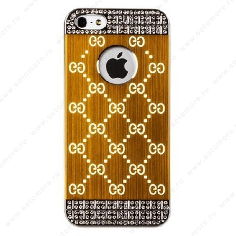 Накладка GUCCI металлическая для iPhone SE/ 5s/ 5C/ 5 серебро золотистая