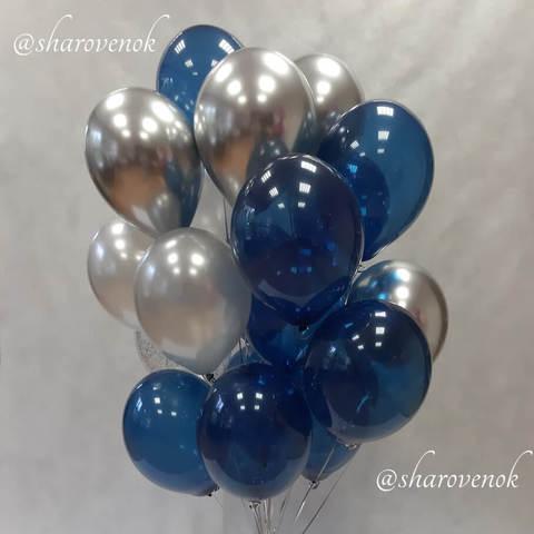 25 шаров синий кристалл, серебро металлик, серебро хром
