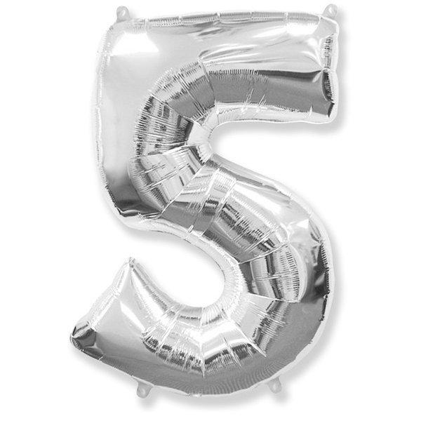 Фольгированная цифра 5, серебро