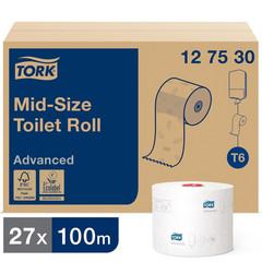 Бумага туалетная в рулонах Tork Mid-size Advanced 2-слойная 27 рулонов по 100 метров (артикул производителя 127530)