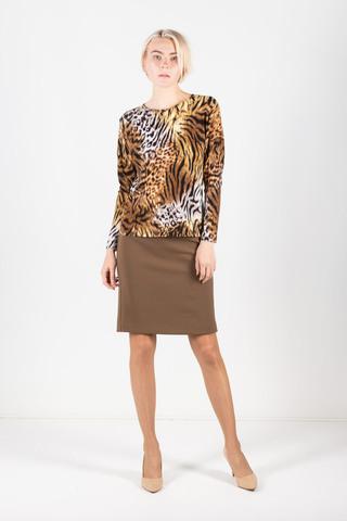 Фото стильный леопардовый джемпер прилегающего силуэта с длинным рукавом - Джемпер В569-210 (1)