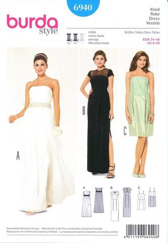 Выкройка Burda (Бурда) 6940 — Свадебное, вечернее платье