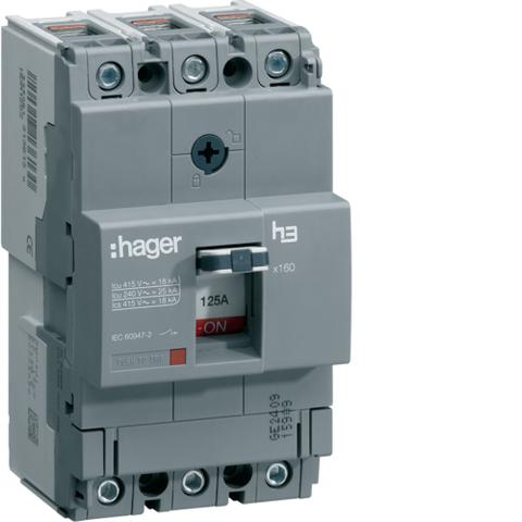 Автоматический выключатель, x160, TM фикс., 3P 18kA 100A, 440В АС