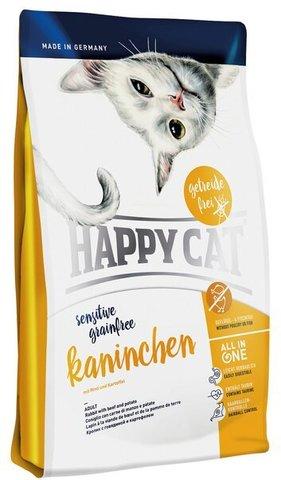 купить Happy Cat Sensitive Grainfree Raninchen сухой корм для взрослых кошек с чувствительным пищеварением с кроликом, говядиной, картофелем и морковью