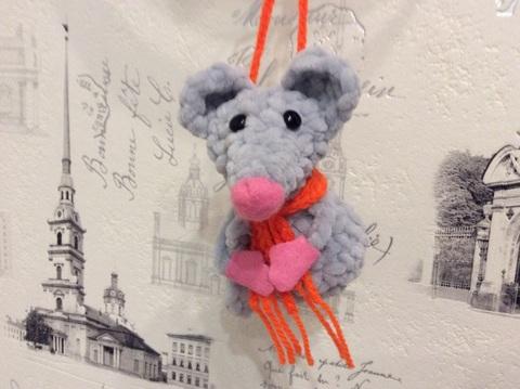 Серый Крыс - мандаринчик, ёлочная игрушка