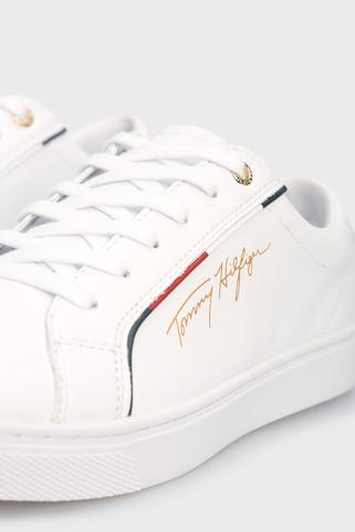 Женские белые кожаные сникеры TOMMY HILFIGER SIGNATURE Tommy Hilfiger