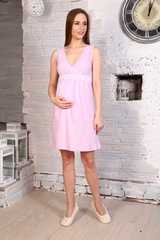Мамаландия. Сорочка для беременных и кормящих с V-образным вырезом и кружевом, светло-сиреневый вид 1
