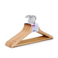 Вешалка-плечики деревянная Attache с выемками и перекладиной натуральная (размер 48-50, 8 шт/уп)